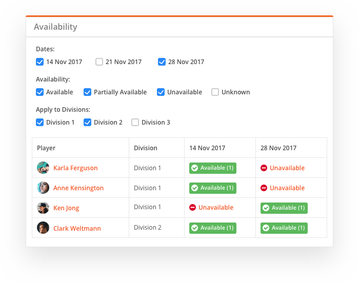 sportyHQ View player availability